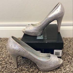 Silver diamond stone heels